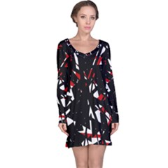 Black, Red And White Chaos Long Sleeve Nightdress