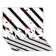 Elegant Black, Red And White Lines Hope 3d Greeting Card (7x5) by Valentinaart