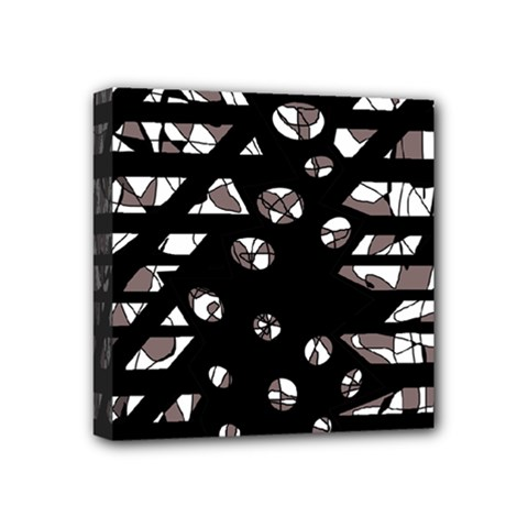 Gray Abstract Design Mini Canvas 4  X 4  by Valentinaart