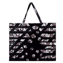 Gray Abstract Design Zipper Large Tote Bag by Valentinaart