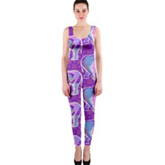 Cute Violet Elephants Pattern Onepiece Catsuit by DanaeStudio