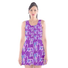 Cute Violet Elephants Pattern Scoop Neck Skater Dress by DanaeStudio