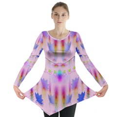 Rainbows And Leaf In The Moonshine Long Sleeve Tunic  by pepitasart