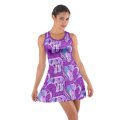 Cute Violet Elephants Pattern Cotton Racerback Dress by DanaeStudio