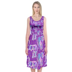 Cute Violet Elephants Pattern Midi Sleeveless Dress by DanaeStudio