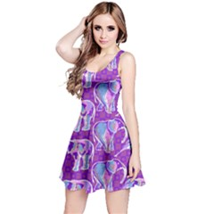 Cute Violet Elephants Pattern Reversible Sleeveless Dress