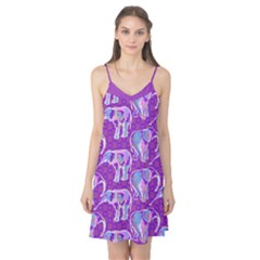 Cute Violet Elephants Pattern Camis Nightgown  by DanaeStudio