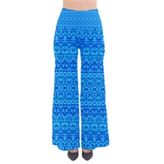 Bohemian Blue Damask Palazzo Pants  by tjustleft