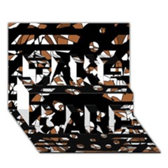 Brown Freedom  Take Care 3d Greeting Card (7x5) by Valentinaart