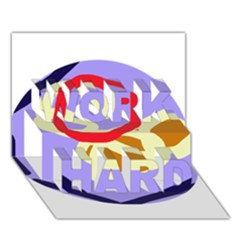 Abstract Circle Work Hard 3d Greeting Card (7x5) by Valentinaart