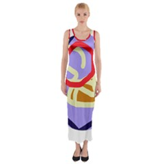 Abstract Circle Fitted Maxi Dress by Valentinaart