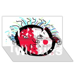 Angry Transparent Face Best Wish 3d Greeting Card (8x4) by Valentinaart
