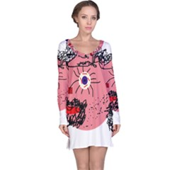 Abstract Face Long Sleeve Nightdress