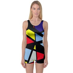 Colorful Geomeric Desing One Piece Boyleg Swimsuit by Valentinaart