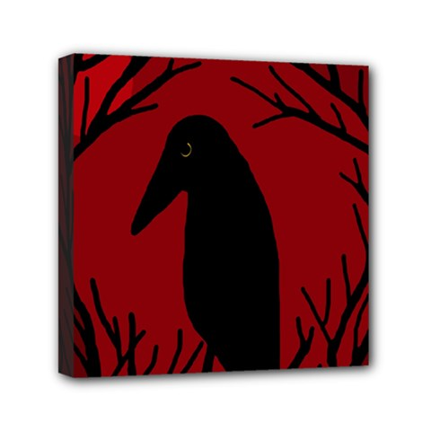 Halloween Raven   Red Mini Canvas 6  X 6