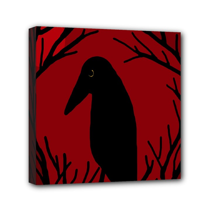 Halloween raven - red Mini Canvas 6  x 6