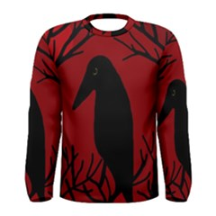 Halloween Raven   Red Men s Long Sleeve Tee by Valentinaart