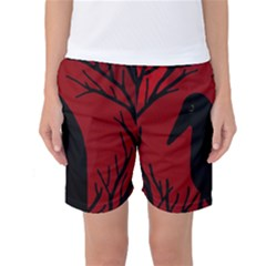 Halloween Raven   Red Women s Basketball Shorts by Valentinaart