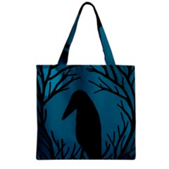 Halloween Raven   Blue Grocery Tote Bag by Valentinaart