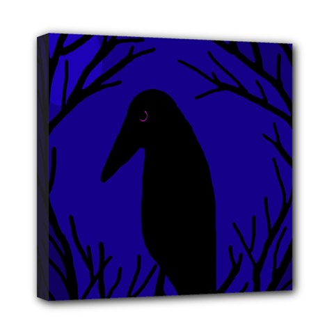Halloween Raven   Deep Blue Mini Canvas 8  X 8  by Valentinaart