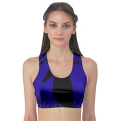 Halloween Raven   Deep Blue Sports Bra by Valentinaart