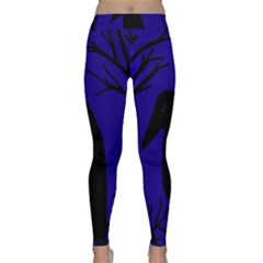 Halloween Raven   Deep Blue Yoga Leggings  by Valentinaart