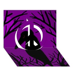 Halloween Raven   Purple Peace Sign 3d Greeting Card (7x5)