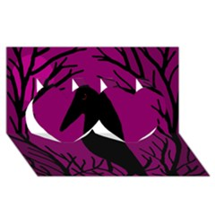 Halloween Raven   Magenta Twin Hearts 3d Greeting Card (8x4) by Valentinaart