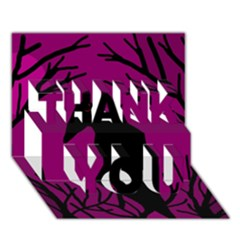 Halloween Raven   Magenta Thank You 3d Greeting Card (7x5) by Valentinaart