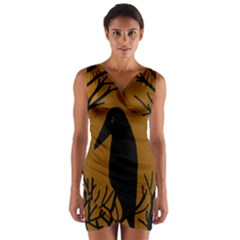 Halloween Raven   Brown Wrap Front Bodycon Dress by Valentinaart