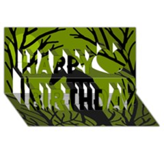 Halloween Raven   Green Happy Birthday 3d Greeting Card (8x4)