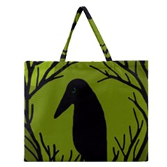 Halloween Raven   Green Zipper Large Tote Bag by Valentinaart