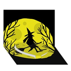 Halloween Witch - Yellow Moon Heart Bottom 3d Greeting Card (7x5)
