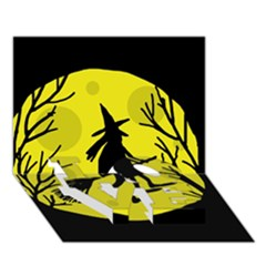 Halloween Witch   Yellow Moon Love Bottom 3d Greeting Card (7x5) by Valentinaart