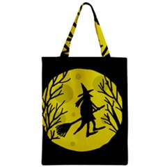 Halloween Witch   Yellow Moon Zipper Classic Tote Bag by Valentinaart