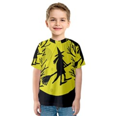 Halloween Witch   Yellow Moon Kid s Sport Mesh Tee by Valentinaart
