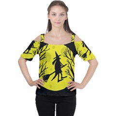 Halloween Witch   Yellow Moon Women s Cutout Shoulder Tee by Valentinaart