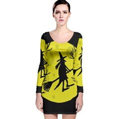 Halloween Witch   Yellow Moon Long Sleeve Velvet Bodycon Dress by Valentinaart