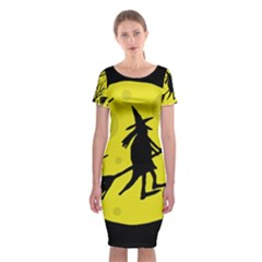 Halloween Witch   Yellow Moon Classic Short Sleeve Midi Dress by Valentinaart