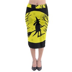Halloween Witch   Yellow Moon Midi Pencil Skirt by Valentinaart