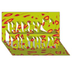 Yellow Neon Design Happy Birthday 3d Greeting Card (8x4) by Valentinaart