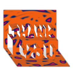 Orange Neon Thank You 3d Greeting Card (7x5)
