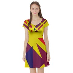 Hot Abstraction Short Sleeve Skater Dress by Valentinaart