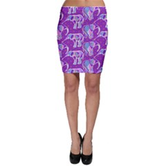 Cute Violet Elephants Pattern Bodycon Skirt by DanaeStudio
