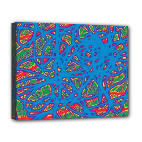 Colorful Neon Chaos Deluxe Canvas 20  X 16   by Valentinaart