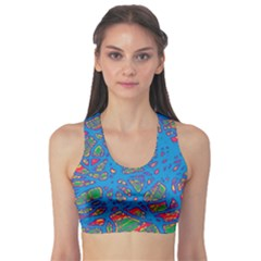 Colorful Neon Chaos Sports Bra by Valentinaart