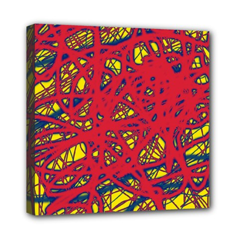 Yellow And Red Neon Design Mini Canvas 8  X 8  by Valentinaart