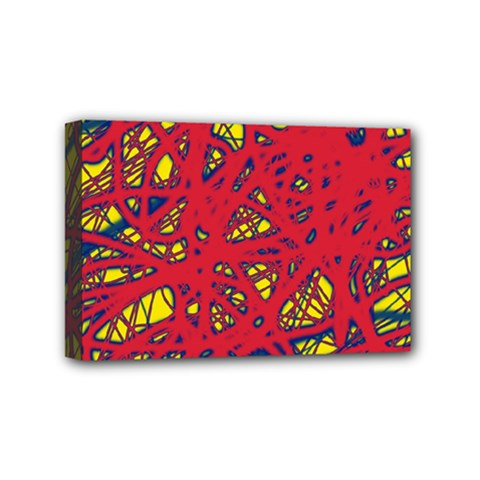 Yellow And Red Neon Design Mini Canvas 6  X 4  by Valentinaart