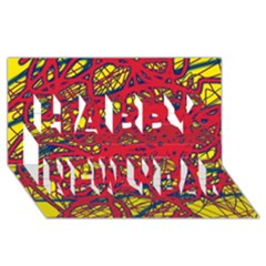 Yellow And Red Neon Design Happy New Year 3d Greeting Card (8x4) by Valentinaart
