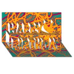 Orange Neon Chaos Happy Birthday 3d Greeting Card (8x4) by Valentinaart